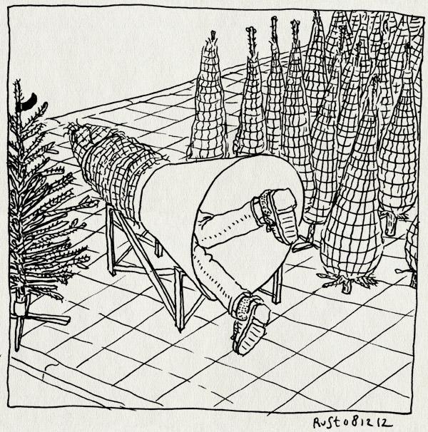 tekening 2024, apparaat, broodje veronica, inpakken, kerstboom, kerstboomverkoop, stoep