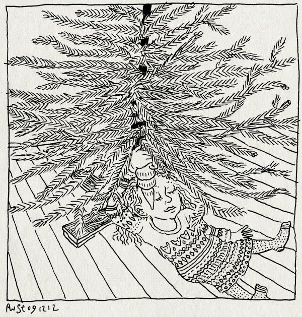 tekening 2025, alwine, geboren, huize tientellenrust, kerstboom, maasstraat, optuigen, verjaardag, versieren