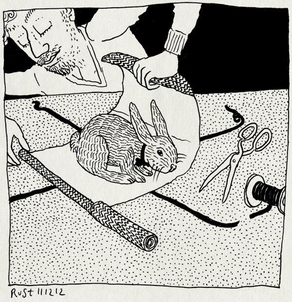 tekening 2027, 4 cadeautje, alwine, inpakken, jarig, konijn, konijnenpak, lint, pakpapier, schaar, strik