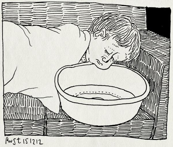 tekening 2031, bank, kotsen, midas, misselijk, slapen, teiltje, ziek, zielig