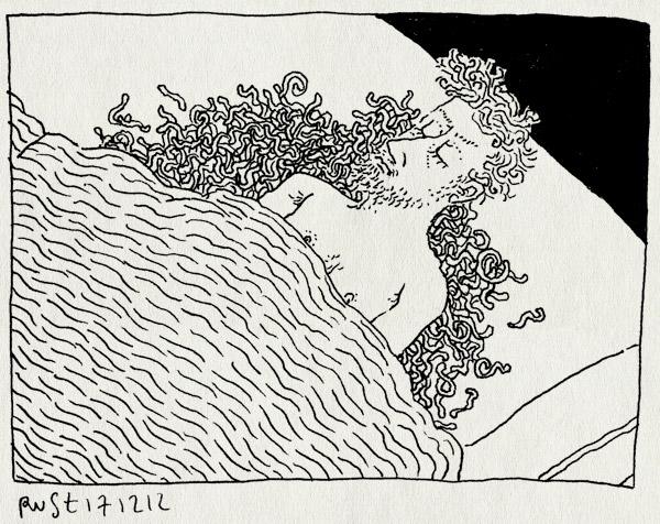 tekening 2033, bed, beestjes, droom, eczeem, jakkes, jeuk, vies, worden