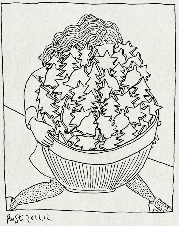 tekening 2036, 10e, bakken, kerst, kerstboom, kerstmis, klokje, koekjes, martine, schaal, veel, zelfgebaken