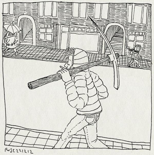 tekening 2038, amsterdam, bellevue, houweel, muurspecht, pikhouweel, straat, wapen, werk