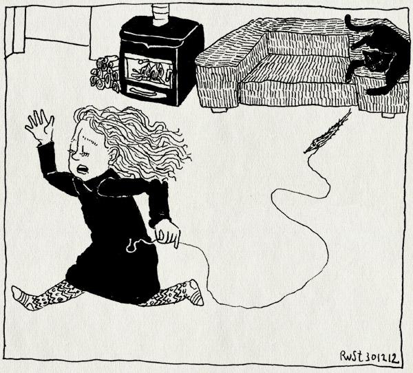 tekening 2046, alwine, bang, janine, kat, rennen, touwtje, vakantie, westeremden, worm