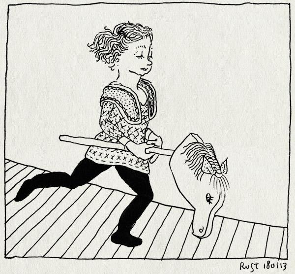 tekening 2065, alwine, ilias, spelen, stokpaard, stokpaardje