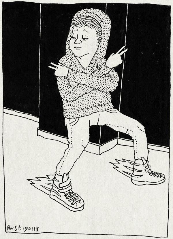 tekening 2066, coole gast, gele schoenen, kleding, midas, moves, nieuwe kleren, schoenen, vet