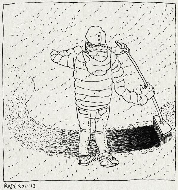 tekening 2067, bezem, bierkaai, nutteloos, sneeuw, sneeuwen, stoepje, vegen