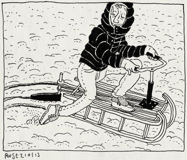 tekening 2068, gaaf, slee, sleeen, sneeuw, sturen, stuur, want