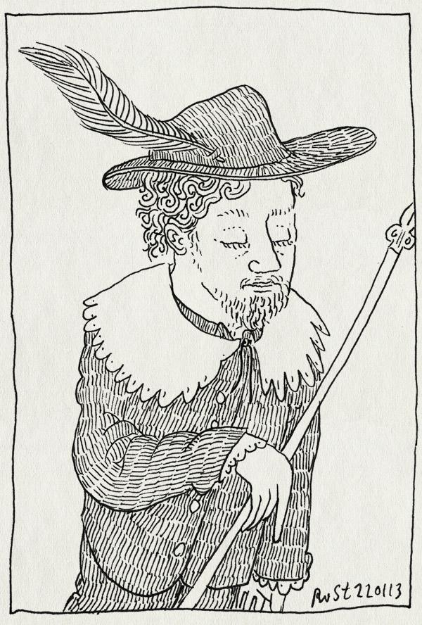 tekening 2069, gouden eeuw, hoed, kostuum, micompagnie, schets, schutter, schutterstuk, veer, voc, vocmentaliteit, werk