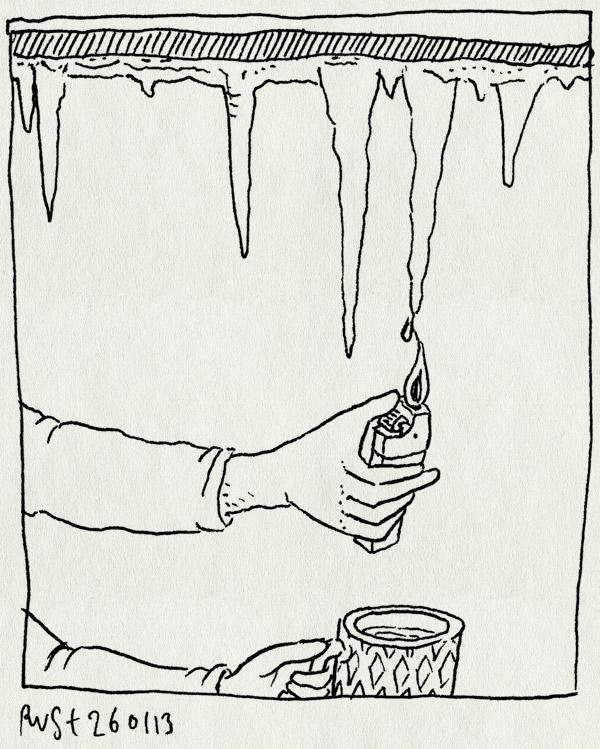 tekening 2073, aansteker, dooi, drinken, ijs, ijspegel, smelten, water