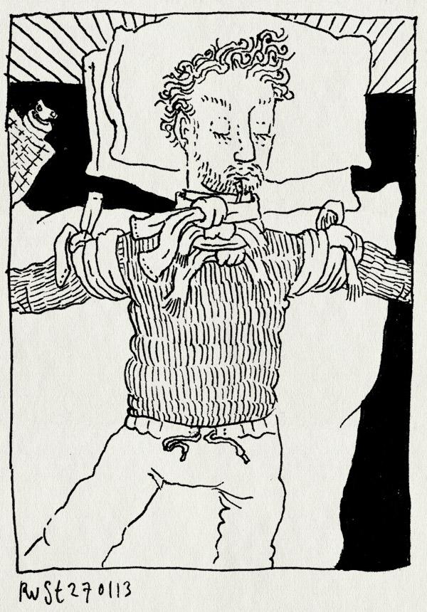 tekening 2074, auw, bed, nek, nekpijn, rugpijn, sjaal, sjaals, verrekt