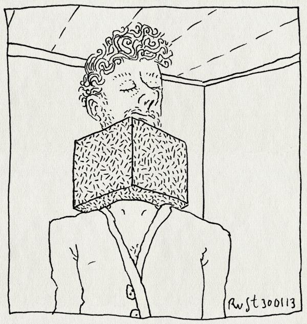 tekening 2077, blok, kubus, nek, nekpijn, vast