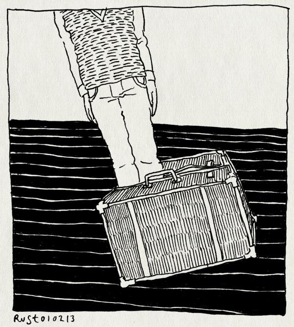 tekening 2079, koffer, omvallen, reis, vast