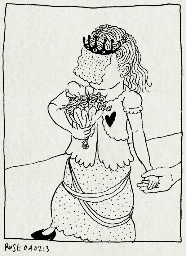 tekening 2082, alwine, bruid, bruidsjurk, rollenspel, spelen, struikje, toefje, trouwen