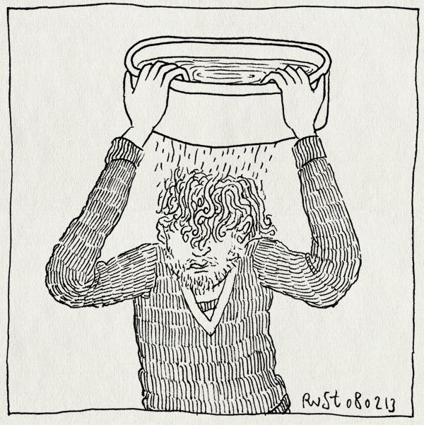 tekening 2086, bak, druppelen, haar, nat, teiltje, water