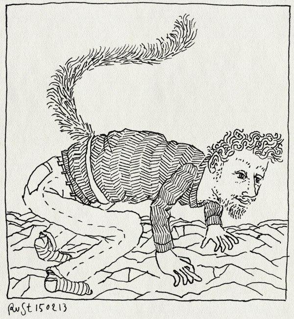 tekening 2093, beels, evo, evolutie, jurian moller, maki, prhistorie, rotsen, staart
