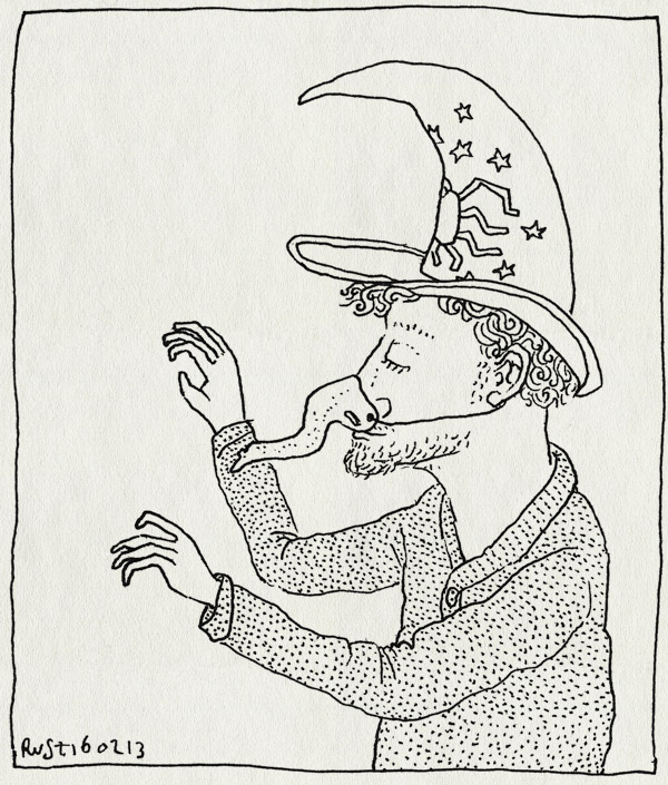 tekening 2094, heks, heksenfeestje, heksenhoed, heksenneus, roos, tovenaar, verjaardag