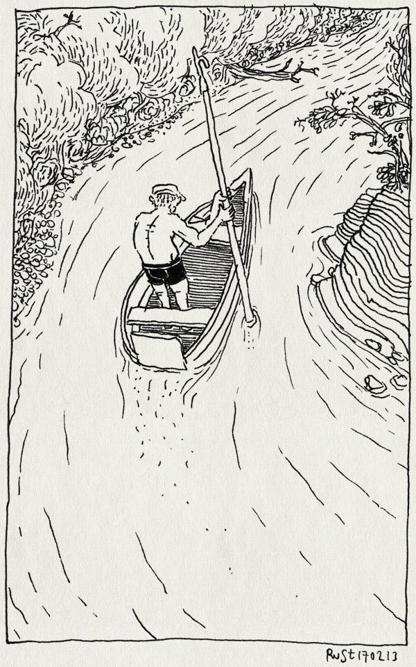 tekening 2095, afscheid, barwue, boot, dordogne, enveaux, ode, pierrot, pierrot lagarde, rivier, stroom, tegen de stroom