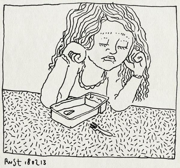 tekening 2096, alwine, bakje, balen, ballorig, friet, leeg, patat, vorkje