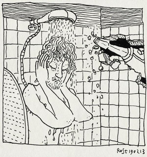 tekening 2097, badkamer, buren, douche, drilboor, jekker, kiek en martijn, lawaai, renovatie