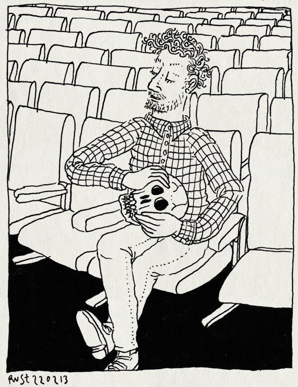 tekening 2100, bioscoop, doodskop, horror, leeg, melkweg, schedel, schokkend nieuws, strip, striptekenaars, zone5300