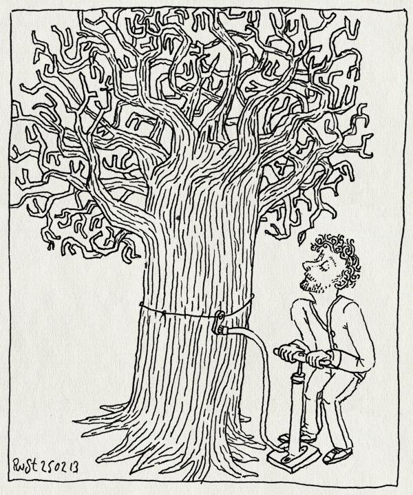 tekening 2103, blad, bladeren, boom, fietspomp, hulp, kaal, lente, opblazen