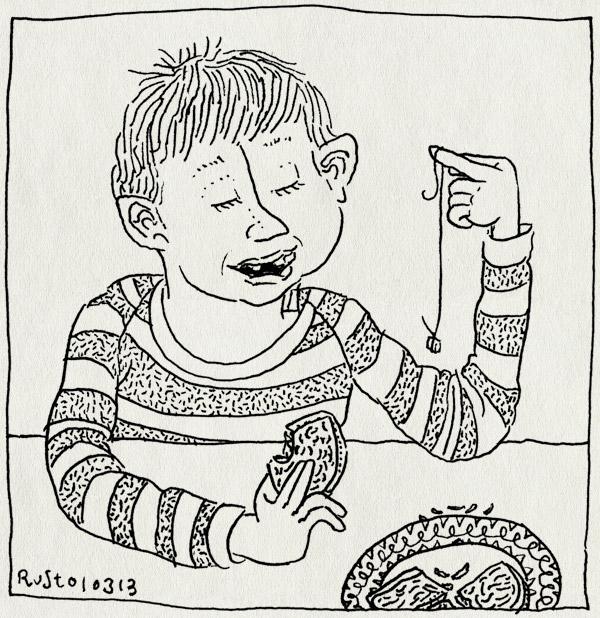 tekening 2107, eruit, kabouter tandenstoker, midas, tand, tandenfee, voortand, wisselen