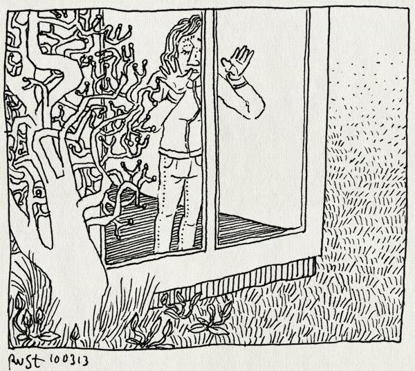tekening 2116, achterlaten, afscheid, alleen, doei, huisje, martine, stado, texel