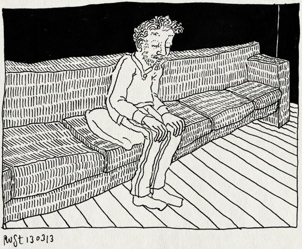 tekening 2119, alleen, avond, bank, groot, martine, weg
