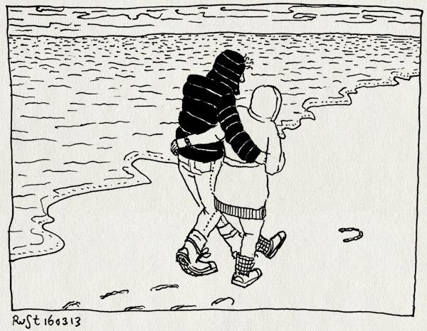 tekening 2122, hoefijzer, horizon, martine, paal17, ruben, strand, texel, wandelen, wolken, zee