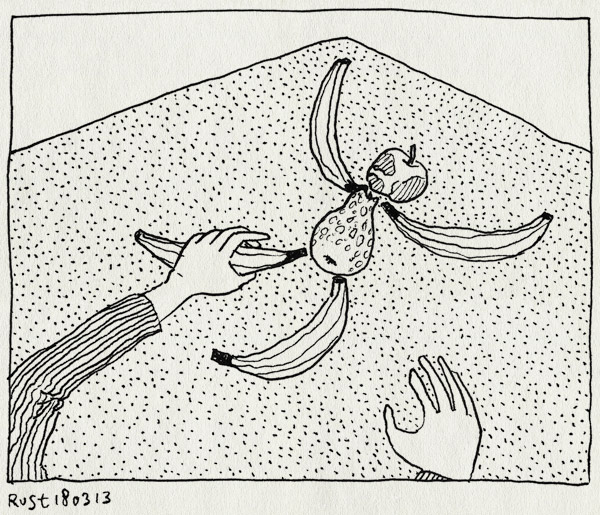 tekening 2124, appel, banaan, fruit, hand, iseefaces, mannetje, pareidolia, peer, school, tafel