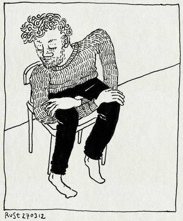 tekening 2133, armen, handen, knoop, knopen, over elkaar, zitten