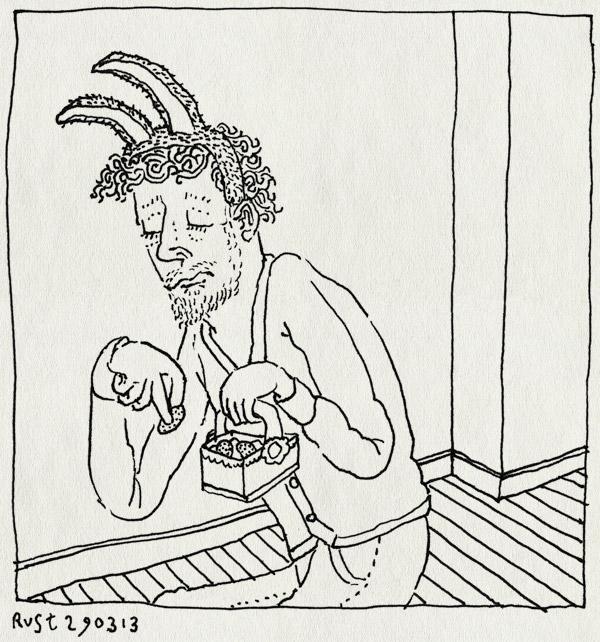 tekening 2135, mandje, oren, paashaas, treurig, verstoppen