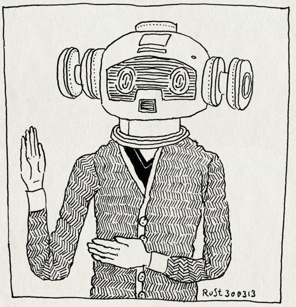 tekening 2136, daft punk, dickie, hoorn, jaren 80, masker, museum van de twintigste eeuw, robot