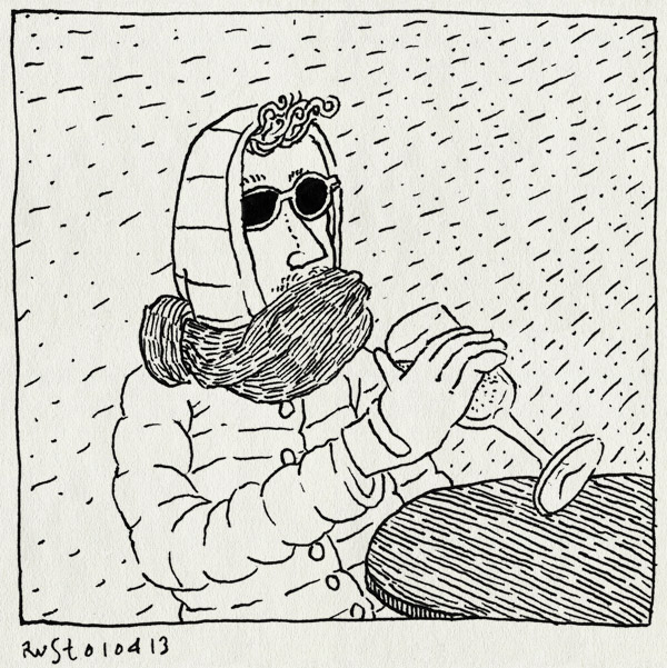 tekening 2138, amstelbark, bier, kou, lente, sjaal, terras, zomers, zonnebril