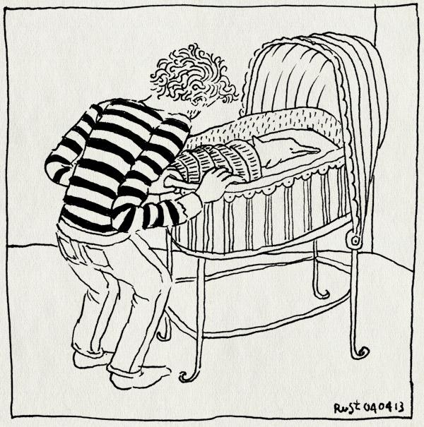 tekening 2141, baby, buren, dauphine, geboren, ilias, kiek, lief, martijn, nacht, wieg, wiegje