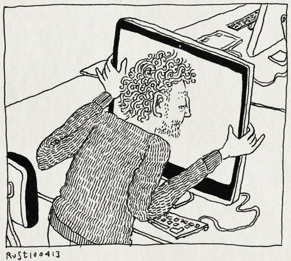 tekening 2147, anderen, burorust, closeup, druk, fwf, mac, scherm, stress, veel, werk