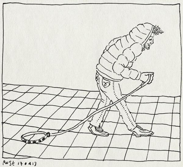 tekening 2154, gelanceerd, halsband, hondenlijn, lijn, los, loslaten, reckon, rex, rien, straat