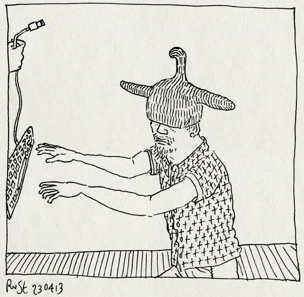 tekening 2160, druk, fwf, kledinghanger, klerenhanger, masker, toetsenbord, werk