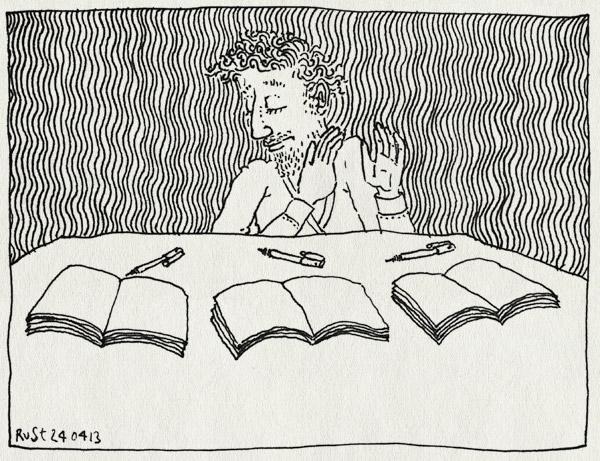tekening 2161, beginnen, boek, boeken, kiezen, multitasking, pen, pennen, werk