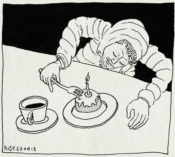 tekening 2164, 35, buiten, feest, jaris, koffie, moorkop, oranje, taartje, urk, verjaardag