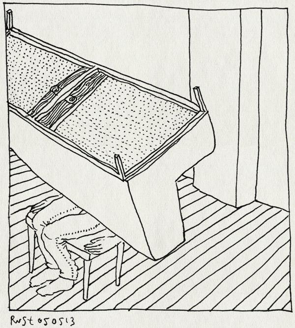 tekening 2172, bah, bank, dood, lijklucht, muis, stinken, thuis, zitten