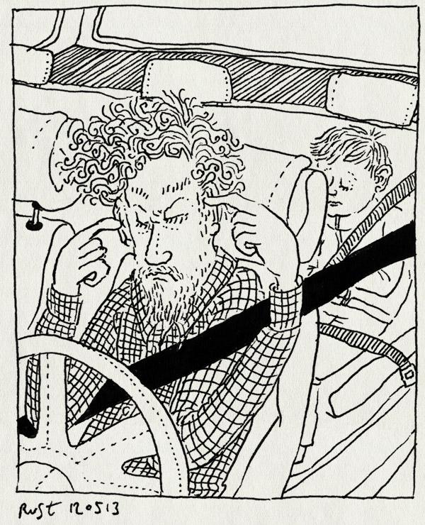 tekening 2179, aargh, alwine, auto, dicht, genoeg, gevaarlijk, kinderen, klieren, lawaai, midas, oren, rijden, vervelend