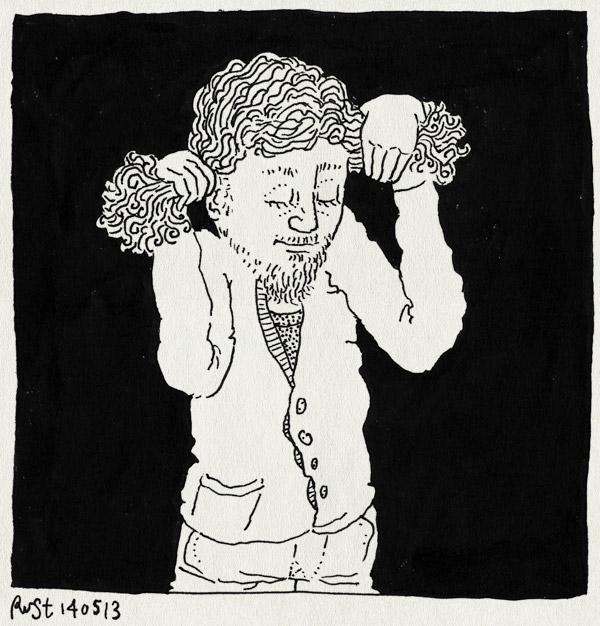 tekening 2181, haren, kapper, krullen, lang, staartjes