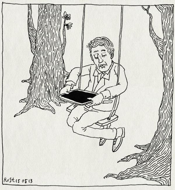 tekening 2182, bomen, documentaire, ipad, schommel, sempé, tekenaar, trees