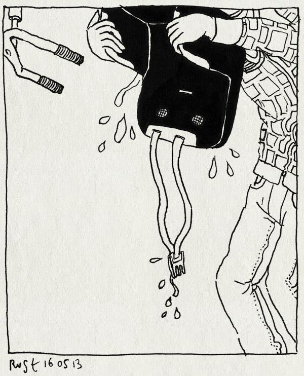 tekening 2183, bobike, fiets, fietszitje, mei, nat, ondersteboven, regen, zitje