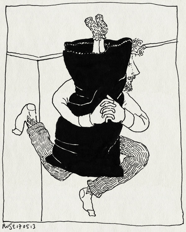 tekening 2184, alwine, camperen, ondersteboven, rits, slaapzak, spelletje, springen, stoeien, voeten