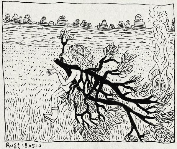 tekening 2185, alwine, bladeren, brand, familie, hoge hexel, kampvuur, maarleveld, möller, möllerbbq, pien, slepen, sterk, takken, vuur