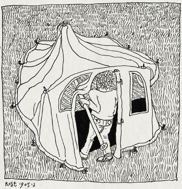 tekening 2186, afbreken, familie, familieweekend, hoge hexel, kamperen, maarleveld, möller, opzetten, tent, veld