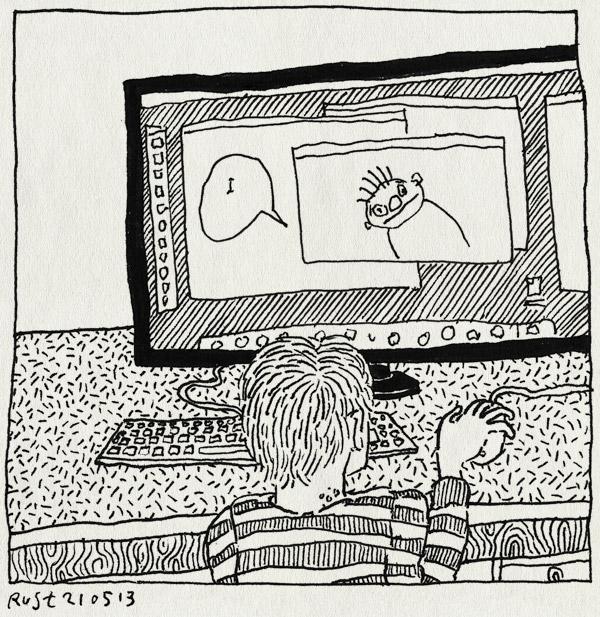 tekening 2188, computer, eigen, feest, macmini, midas, muis, photoshop, waterwratjes